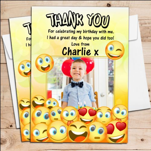 10 Personalised EMOJI Birthday Party Thank you PHOTO Cards N251